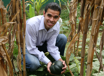 Jose Melgar in the garden, FLAAR Mesoamerica Staff