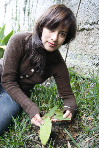Mirtha Cano with Cacao Plant, FLAAR Mesoamerica Staff