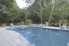 Hotel Jungle Lodge Swimming Pool Peten Guatemala Maya Archaeology