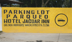Hotel Jaguar Inn Santa Elena Parking Peten Guatemala Maya-archaeology