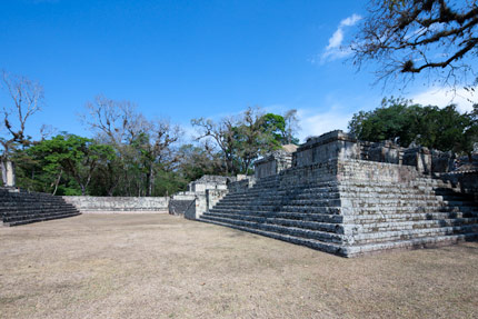 Focus on slopping sides of the steps at the Ball court in Copan