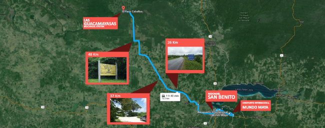 las guacamayas how to drive from airport to san benito peten Guatemala detail