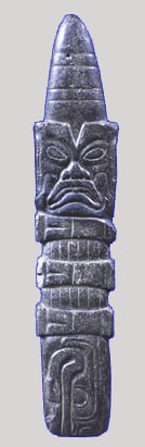 olmec face on a dark stone scepter. Museo Pellicer, Villahermosa, Tabasco, Mexico maya-archaeology
